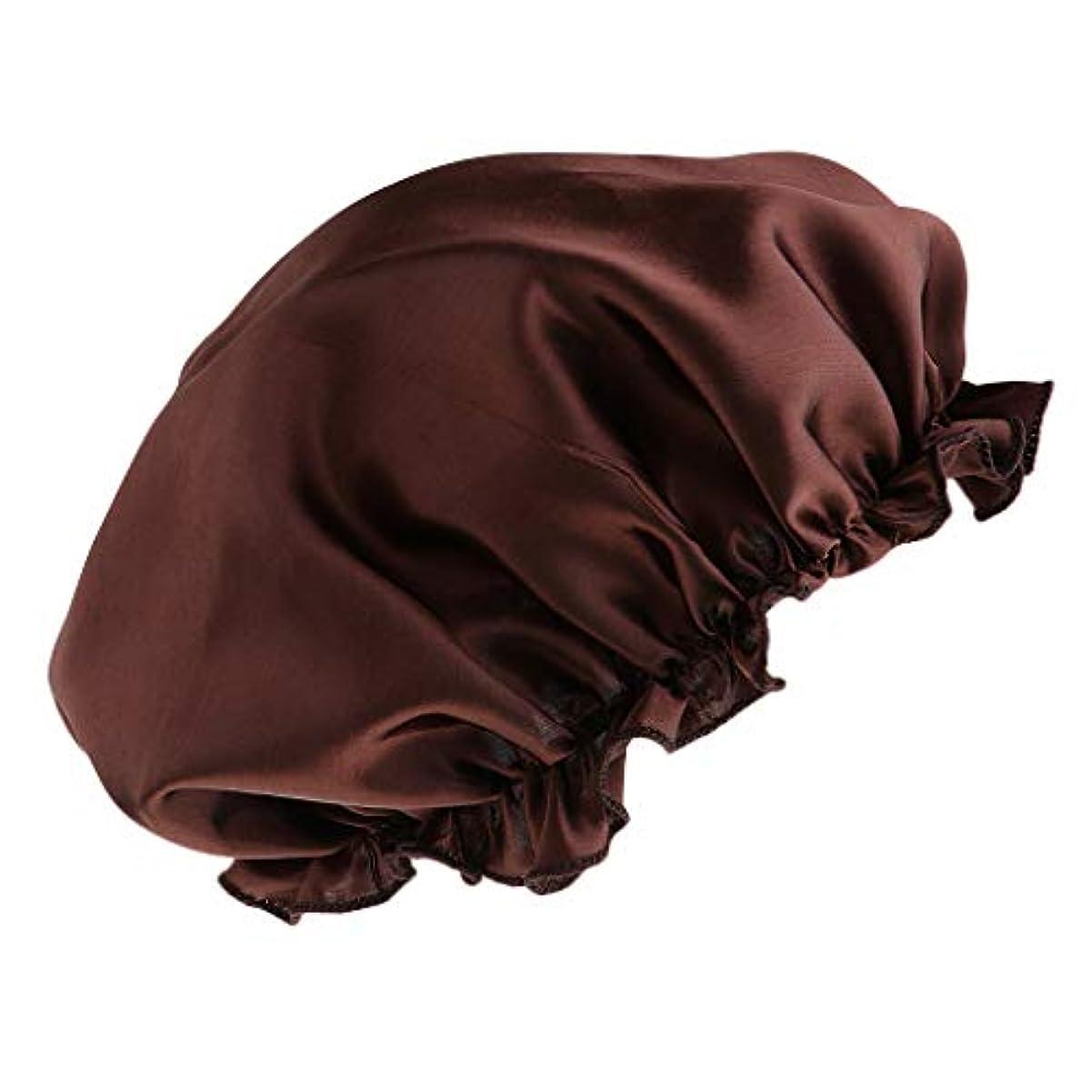 樫の木メディア強化シャワーキャップ シルクサテンキャップ シルクサテン帽子 美容ヘッドカバー 浴用帽子 全8色 - コーヒー