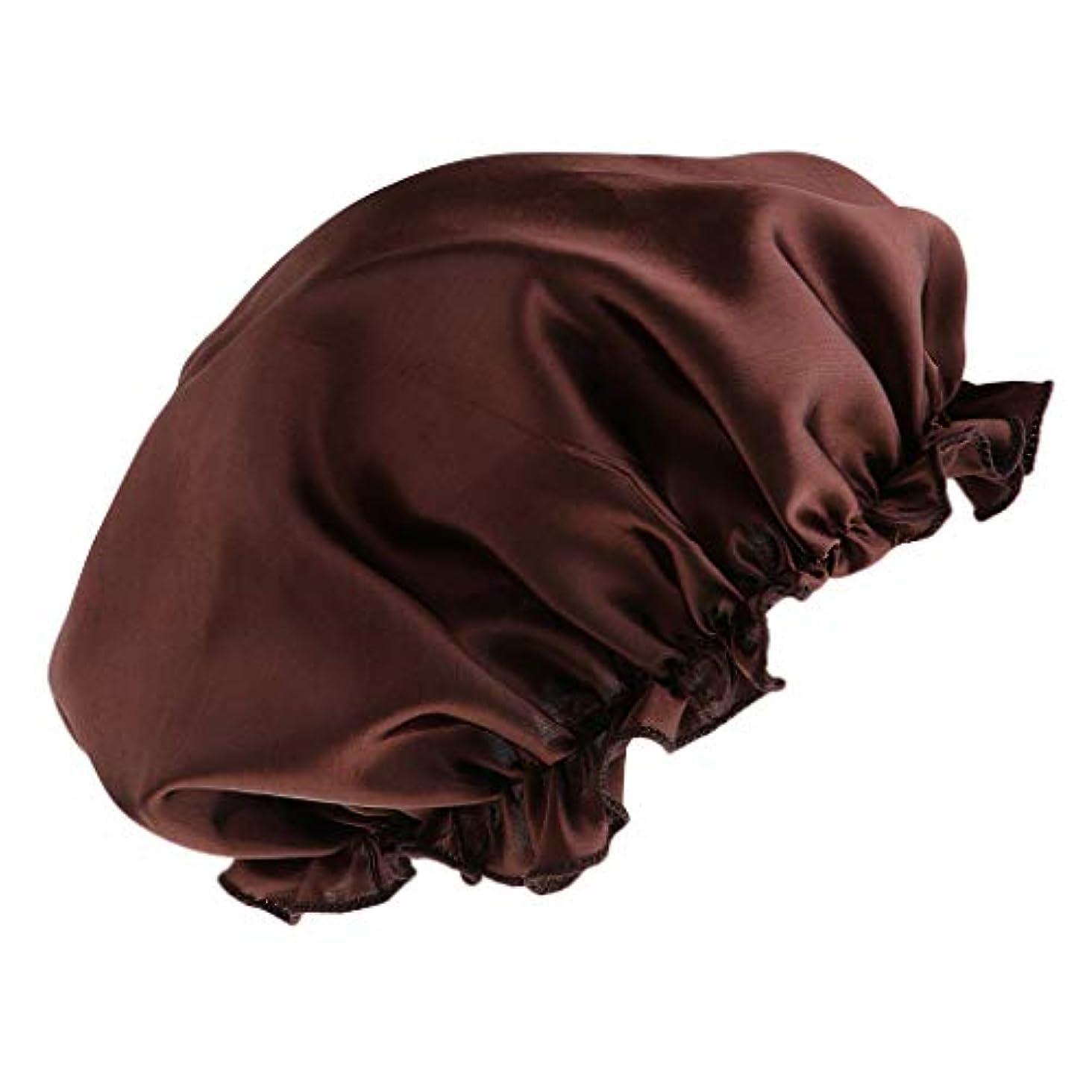 余韻瞑想写真を描くFLAMEER シャワーキャップ シルクサテンキャップ シルクサテン帽子 美容ヘッドカバー 浴用帽子 全8色 - コーヒー