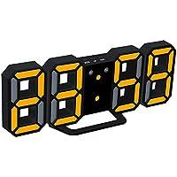 EAAGD 多機能 電子 3D 8888 LEDデジタル目覚まし時計 掛け時計、12H / 24H時間表示 自動調節可能のLED明るさ 家の装飾卓上時計 (ブラック本体+オレンジライト)