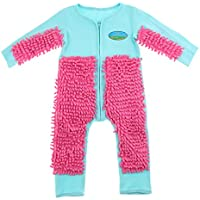 Prettyia Baby Mop Romper for Boys Girls Clothes Long Sleeve Crawling Jumpsuit Infant Cleaning Mop Suit - Light Blue+Red 90cm, as described