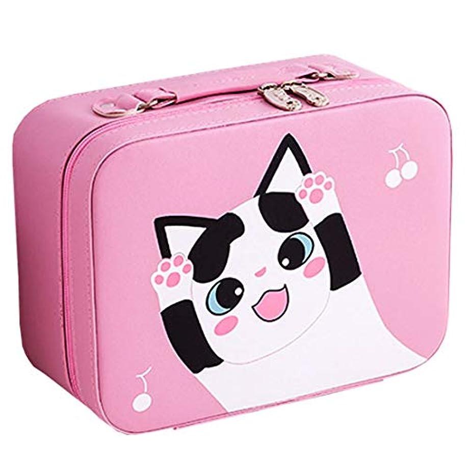 国際メディア非行[テンカ]メイクボックス コスメボックス 大容量 鏡付き おしゃれ かわいい 化粧品収納ボックス ブランド 人気 プロ 化粧ボックス 小物 猫柄 機能的 メイクポーチ 旅行 収納ケース ピンク