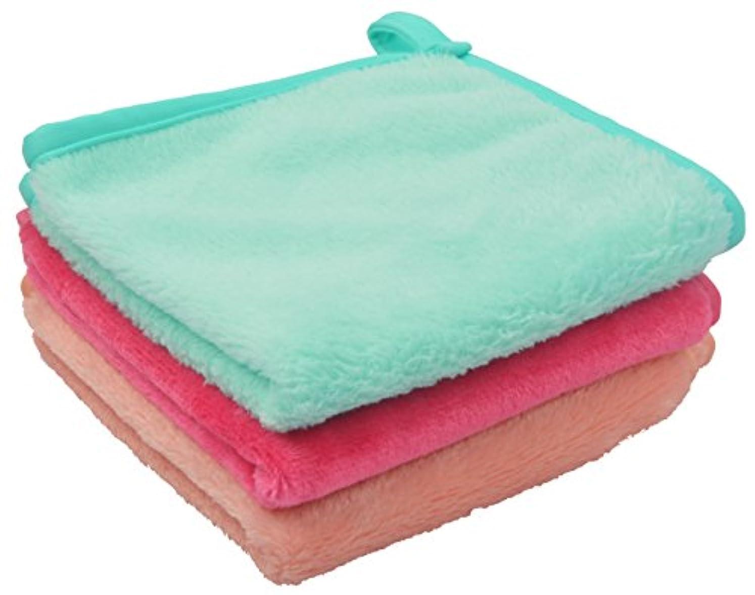 投資ふざけたあたたかいSinland メイク落としタオル 柔らかい クレンジング タオル 敏感肌用タオル (30cmx30cm, ライトグリーン+ピンク+オレンジ)