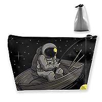 おもしろ宇宙飛行士 化粧ポーチ メイクポーチ 機能的 大容量 化粧品収納 小物入れ 普段使い 出張 旅行 メイク ブラシ バッグ 化粧バッグ