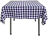 LA Linen Poly Checkered Square Tablecloth, 52 by 52-Inch, Royal/White