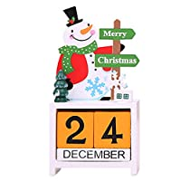 Creacom クリスマス 飾り カレンダー 置物 卓上 玄関 木製 可愛い 多色 部屋飾り クリスマス飾り 装飾グッズ クリスマスツリー サンタクロース トナカイ 雪だるま 繰り返し使用 贈り物 (レッド)