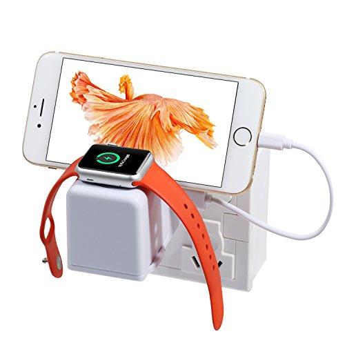 NexGadget 2in1充電スタンド 充電ケーブル収納可能 4ポート USB Apple Watch & iPhone用スタンド (壁で急速充電スタンド)