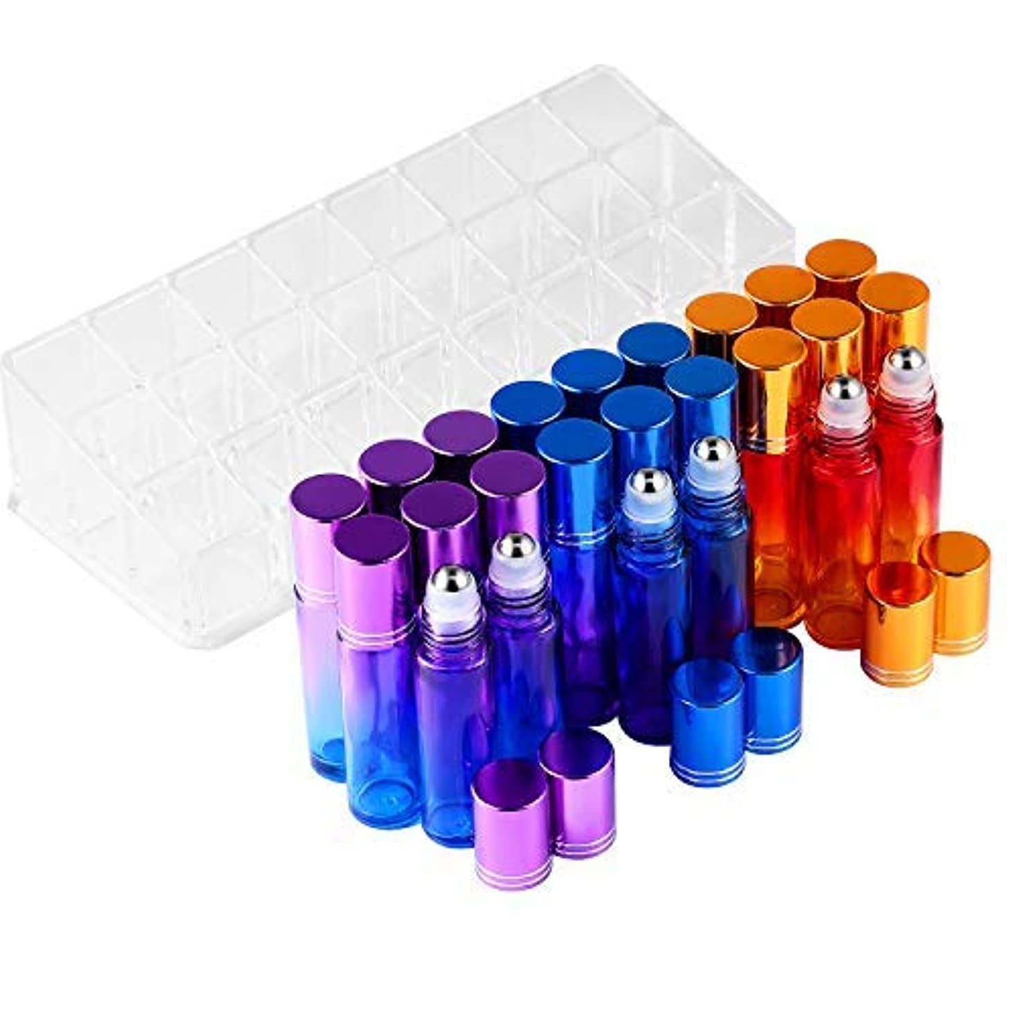 メンバーバックイノセンスEssential Oil Roller Bottles - BEATTYCARE 10ml Refillable Glass Roller Bottle for Essential Oils 24 Pack With...