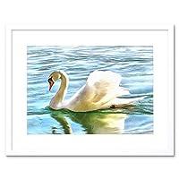 Painting Digital Mute Swan Swimming Framed Wall Art Print ペインティングデジタル壁