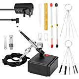 Tykeed Professional Airbrush Set for Model Making Art Painting with Air Compressor+Power Adapter+Airbrush+Airbrush Holder+0.2mm+0.5mm+0.2mm nozzle+0.5mm nozzle+G1/8