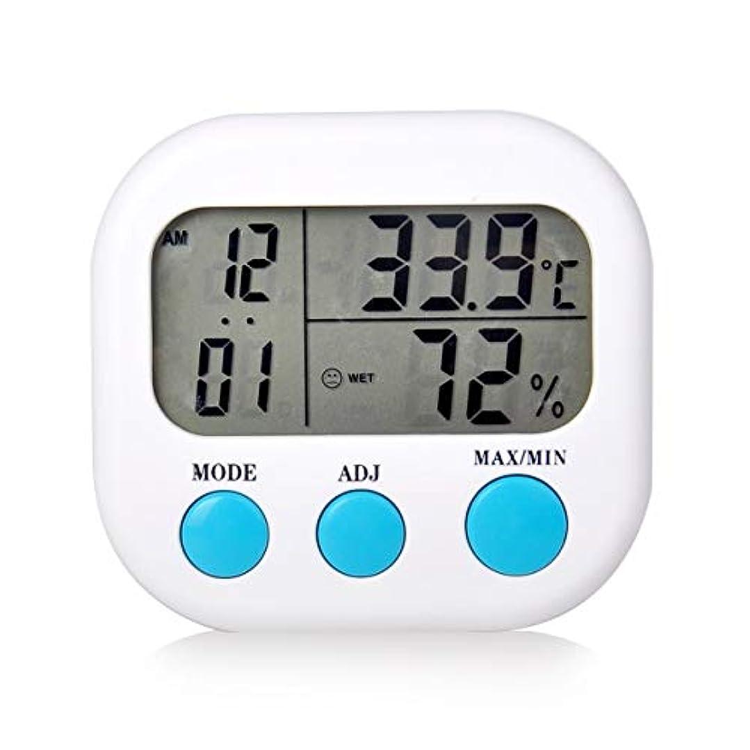学士ケニア障害者Saikogoods 電子体温計湿度計 デジタルディスプレイ 温度湿度モニター アラーム時計 屋内家庭用 白
