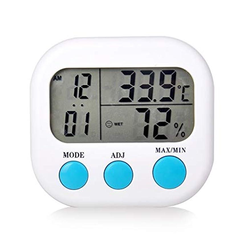 自己歩行者相対的Saikogoods 電子体温計湿度計 デジタルディスプレイ 温度湿度モニター アラーム時計 屋内家庭用 白