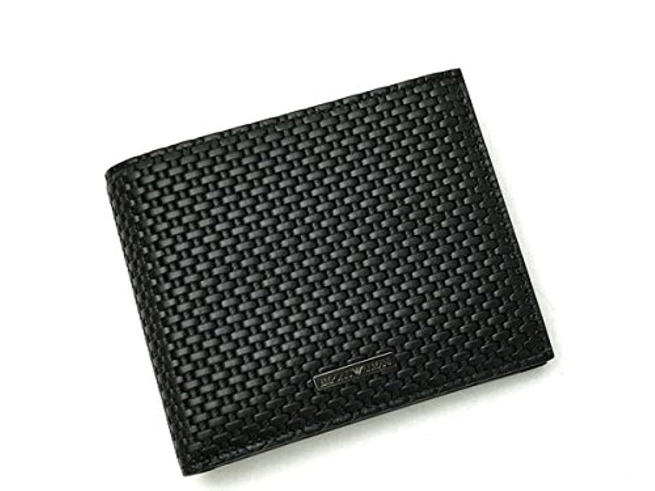 反乱重さ脊椎(エンポリオアルマーニ) EMPORIO ARMANI 2つ折り財布 小銭入れあり ブラック 型押しレザー YEM122-YCG6J-80001[並行輸入品]
