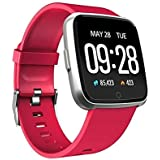 Y7 Fitness Tracker Smartwatch Blood Pressure Bluetooth Smart Watch Fit Band Versa Style Wristband Heart Bit Rate Monitor Sports Bracelet- Red