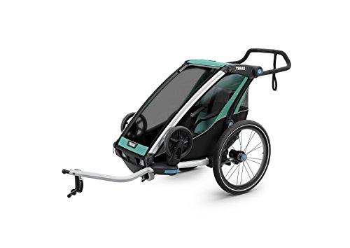 スーリー・チャリオット・ライト1<Thule Chariot Lite 1>けん引アーム&ベビーカー用前輪&防水レインカバー付属(色:ブルーグラズ/ブラック) 1人乗り・スポーツ用途から日常使いまで広範囲をカバーするマルチ・トレーラー保育園送迎最適・サスペンション搭載で快適です。特にベビーカーとしての性能が優れています。オプションを付けることで生後1ヶ月から使えます。旧代の最上位モデルCXの機能を随所に継承しています。競合と比べても大きなメリットがあります。店長お勧めです!