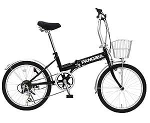 PANGAEA(パンゲア) ROBINSON ロビンソン 20インチ ブラック コンパクト折りたたみ自転車 シマノ6段変速機搭載 前後泥除け付き バスケット標準装備 73377