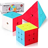 Roxenda Speed Cube Set, Stickerless Magic Cube Set 2x2x2 3x3x3 Pyramid Frosted Puzzle Cube