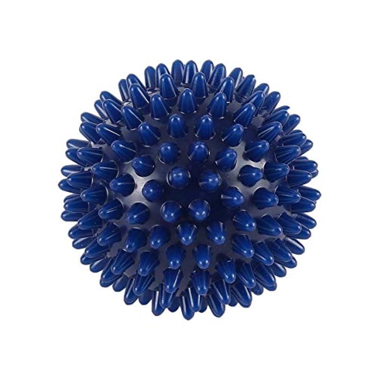 好きである経度バンドルPVC高密度スパイキーマッサージボール足の痛み&足底筋膜炎リリーフトリートメントハリネズミボールマッサージ指圧ボール-ブルー-6 cm