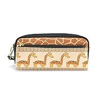 ALAZA キリン 鉛筆 ケース ジッパー Pu 革製 ペン バッグ 化粧品 化粧 バッグ ペン 文房具 ポーチ バッグ 大容量