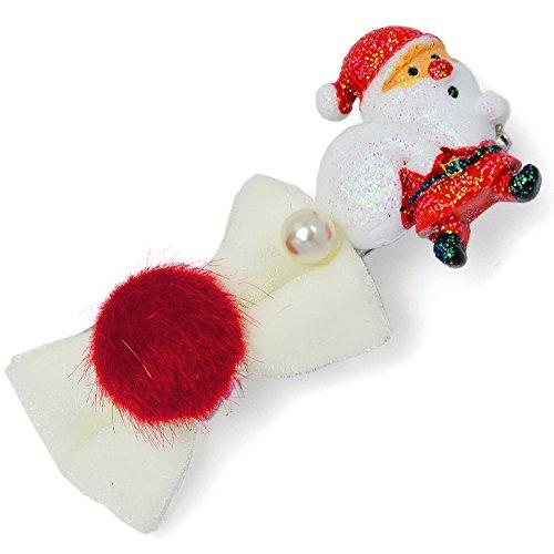 クリスマス モチーフ & リボン の ヘアクリップ j3s 【サンタ】