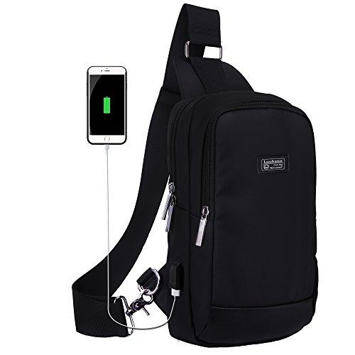 Luuhannボディバッグ メンズ USBポート搭載 防水ワンショルダーバッグ 9.7インチipad収納可