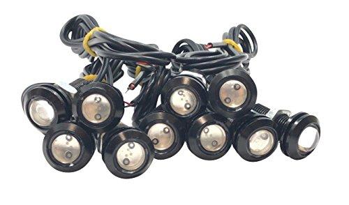 12V LED デイライト 防水 18mm スポットライト 10個 ボルト 固定 タイプ 丸型 牛目...