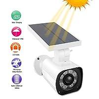 バーチャルカメラ、屋外用ダミーカメラ スマートソーラーセンサーライト付きブレットカメラソーラーアナログモニター、ガーデン、ガレージ 屋外エリア用 IP66防水