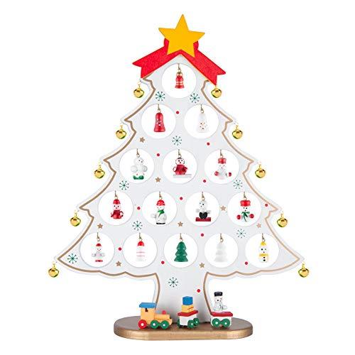 Better stars 卓上 クリスマスツリー ミニ 木製 33cm 可愛いオーナメント付き クリスマス プレゼント インテリア 自宅 店舗 飾り ホワイト