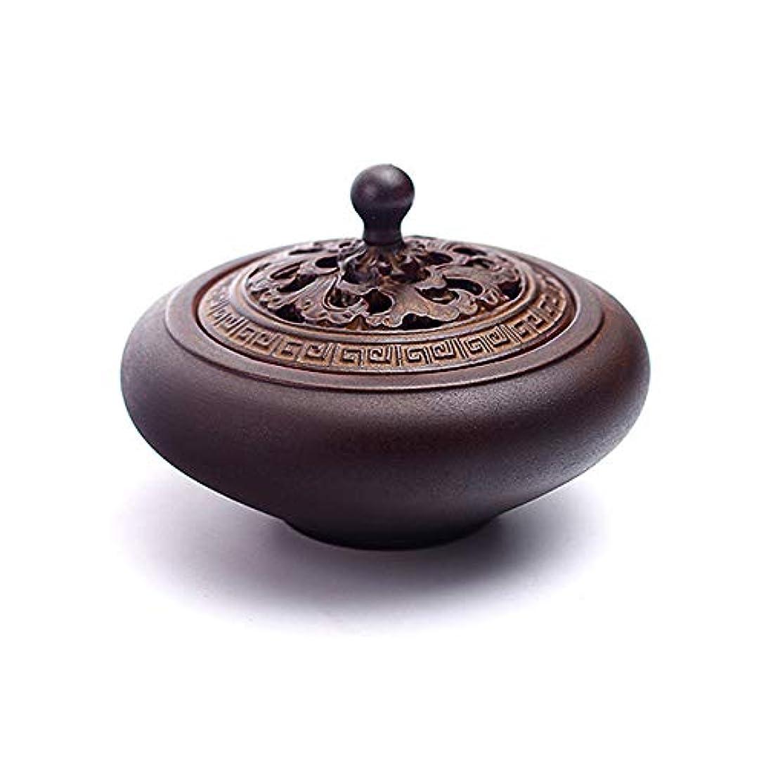 偉業愛撫療法HAMILO 蓋付香炉 陶器 中国風 古典 アロマ 癒し 香道 お香 コーン 抹香 手作り 木製台付 (ブラウン)