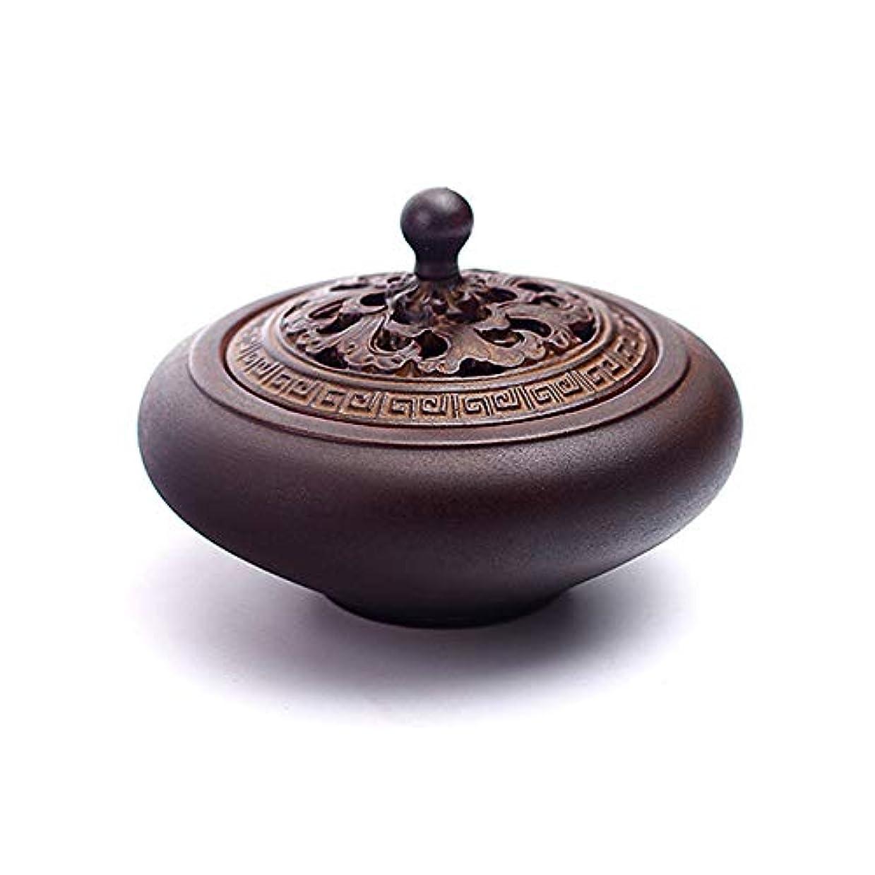 親密な南東指導するHAMILO 蓋付香炉 陶器 中国風 古典 アロマ 癒し 香道 お香 コーン 抹香 手作り 木製台付 (ブラウン)