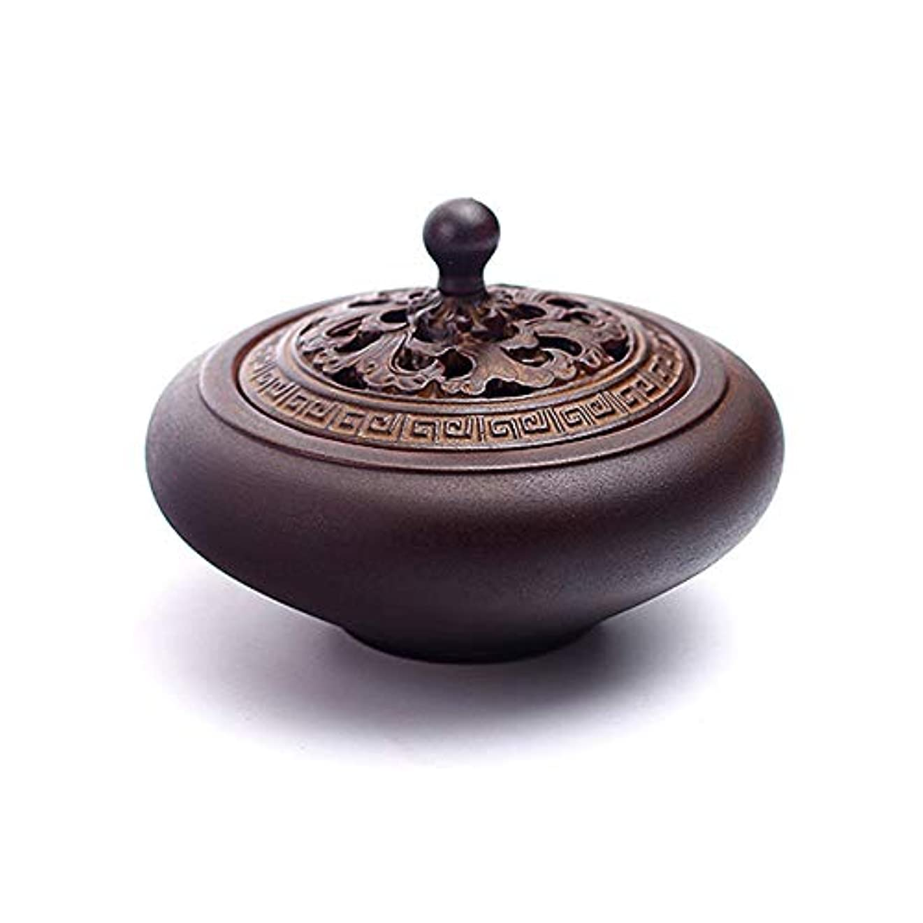 フォーマット大陸誇張するHAMILO 蓋付香炉 陶器 中国風 古典 アロマ 癒し 香道 お香 コーン 抹香 手作り 木製台付 (ブラウン)