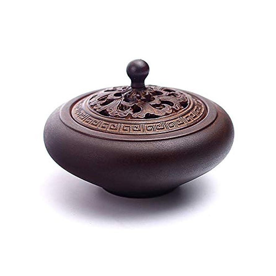 モディッシュ急速なバックアップHAMILO 蓋付香炉 陶器 中国風 古典 アロマ 癒し 香道 お香 コーン 抹香 手作り 木製台付 (ブラウン)