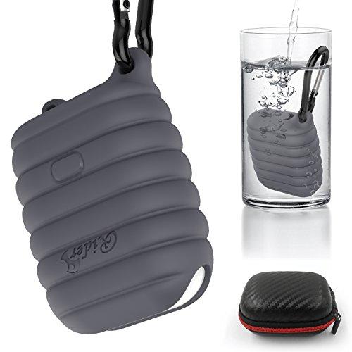 airpods 対応ケース, airpodsケース カバー シリコン 防水 エアーポッズ ケース 防塵栓を持つ エアーポッズ アクセサリー 携帯に便利 カラビナと収納ケースを含む(灰色)