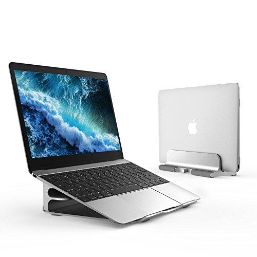 ノートパソコン スタンド pc アルミ 無段階高さ調節 1台2役 縦置き 収納 クラムシェル 14インチまで対応 Macbook/Macbook Pro/Dell/Sony/SAMSUNG/iPad
