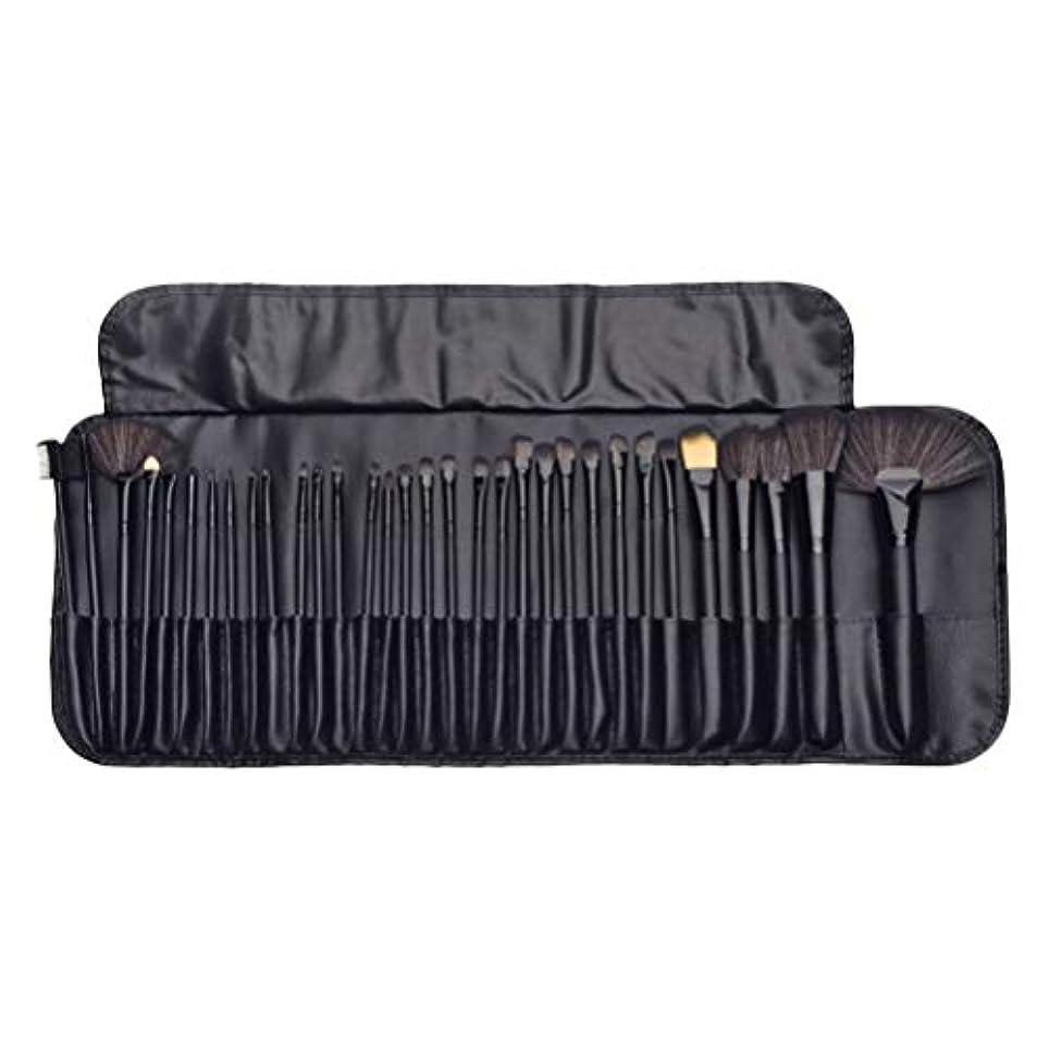 地下鉄失速年次Lurrose 32ピースキットウッドポールメイクアップブラシソフト美容ツール高品質繊維ブラシ付きロールパッケージで女性女の子(黒)