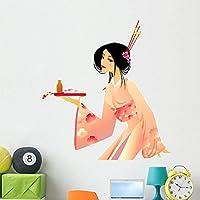 Wallmonkeys Pretty Geisha Wall Decal Peel and Stick Graphic WM11022 (48 in H x 44 in W) [並行輸入品]