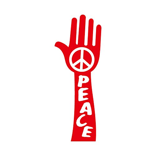 PEACE ハンド カッティング ステッカー レッド 赤...