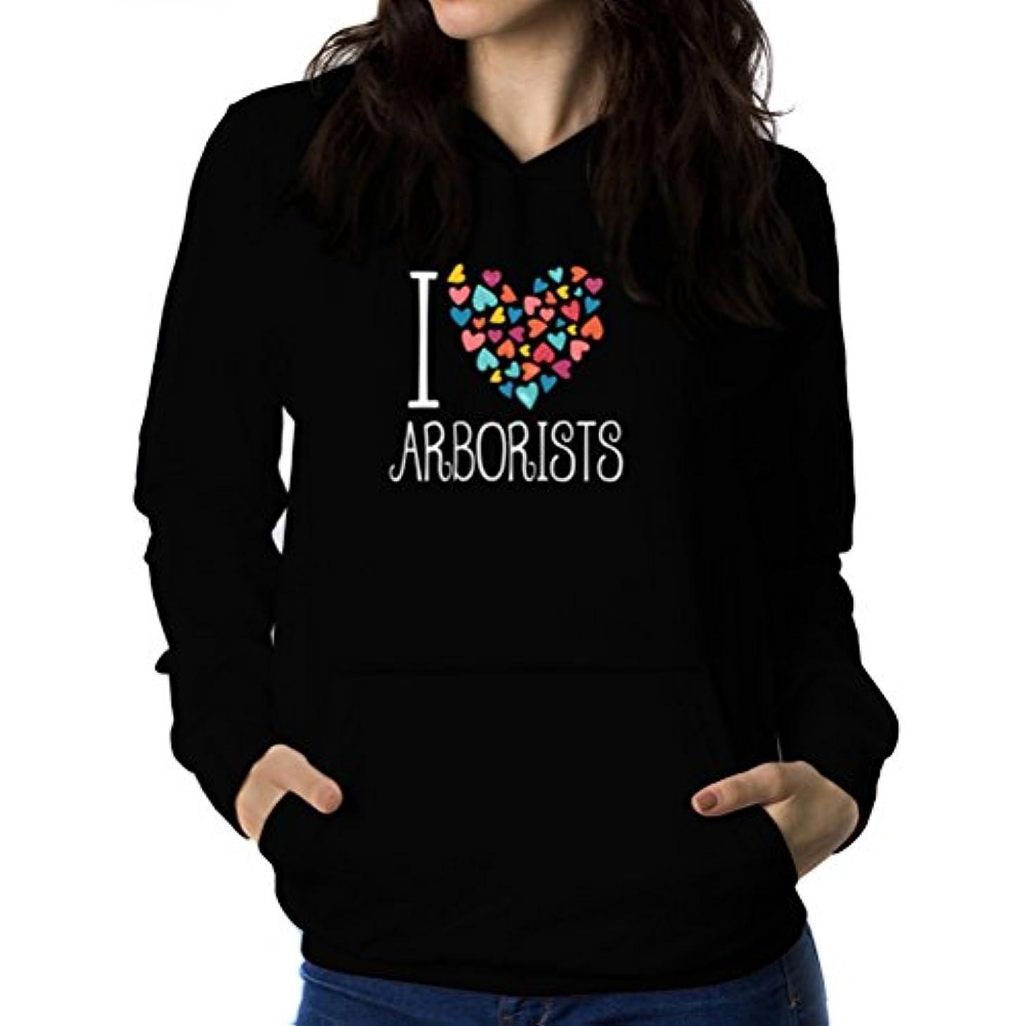 モンククラシカル肩をすくめるI love Arborist colorful hearts 女性 フーディー