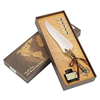 フェザークイルペン、書道クイルインクディップペンセットインクと5本の金属製のペン先ギフトボックスのクラフトペン(ホワイト)