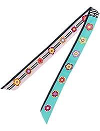 (ウォ2U)Woo2u お洒落 レディース マフラー ネッカチーフ 可愛い 花柄 バンダナ オフィススカーフ ヘッドドレス 巻きつけ カバン ツイリー シュシュ リボン アクセサリー