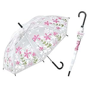 透明ジャンプ傘 鳥と花 60cm ビニール傘 【LIEBEN-0643】 (ピンク)