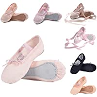 Ruqiji Ballet Shoes for Girls/Toddlers/Kids, Black Canvas Ballet Shoes/Pink Ballet Slippers/Dance Shoes