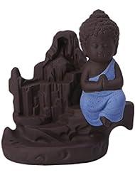 Fenteer セラミック 仏 逆流コーン 香炉ホルダー 香バーナー 装飾的 3色選べる - ブルー