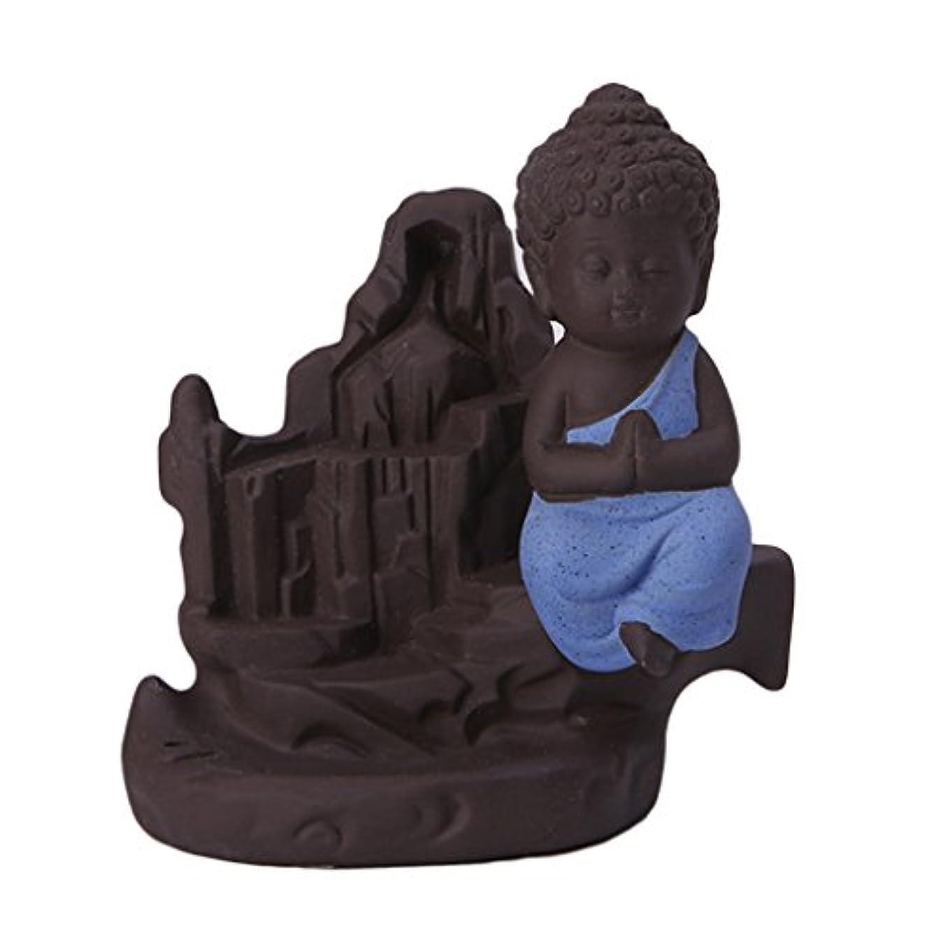 可聴うなずく気楽なFenteer セラミック 仏 逆流コーン 香炉ホルダー 香バーナー 装飾的 3色選べる - ブルー