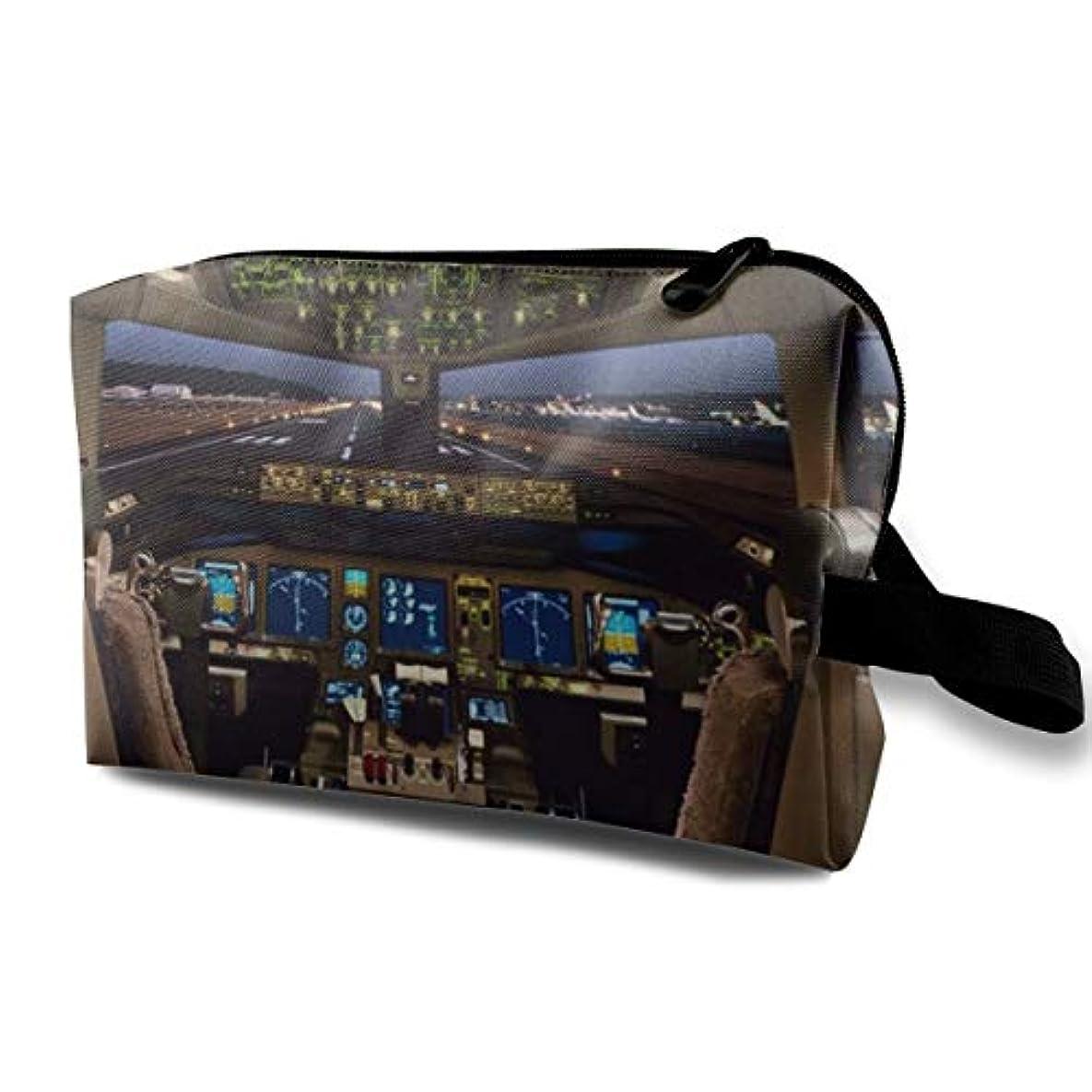 モート文化危険を冒しますAirplane Cockpit 収納ポーチ 化粧ポーチ 大容量 軽量 耐久性 ハンドル付持ち運び便利。入れ 自宅?出張?旅行?アウトドア撮影などに対応。メンズ レディース トラベルグッズ