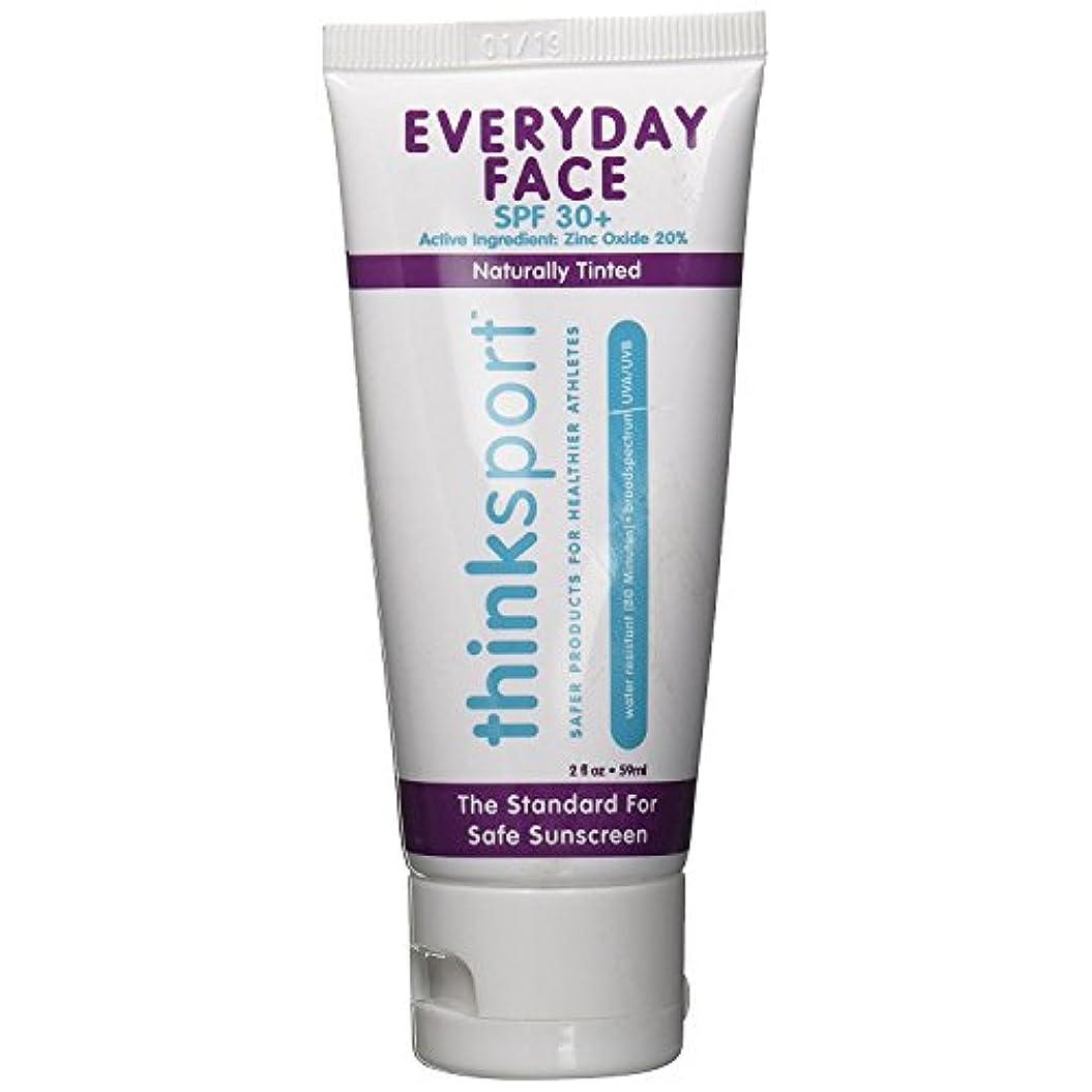 自分神宿題Thinksport エブリデーフェイスサンスクリーン ナチュラルティント 59 ml 毎日のお顔用日焼け止め 自然な肌色