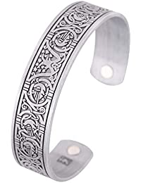 Magnetic Therapy Health Viking Bracelet Tree of Life Celtic Knot Cuff Bangle for Women Men Jewelry