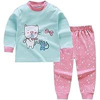 LUKEEXIN Kids Girls Pajamas Set Boys and Girls Nightwear Cartoon Animal Long Sleeve Tops+Pants Sleepwear Set