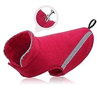 FidgetGear 犬冬服屋外防風ジャケット反射フリースコートアパレルS 3 XL 赤