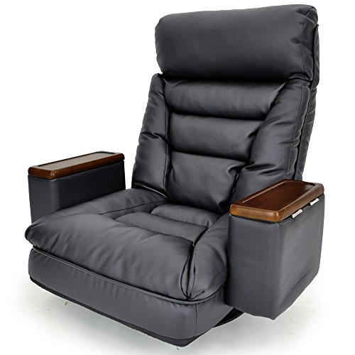 レバー式ガス圧無段階リクライニング回転座椅子「ARION」 (収納ボックス・ヘッドリクライニング機能付) 合皮タイプ ブラック色