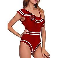 Elegant Taste Women One Piece Nave Vintage Swimsuits One Shoulder Ruched Flounce High Waisted Swimwear Nautical Monokini